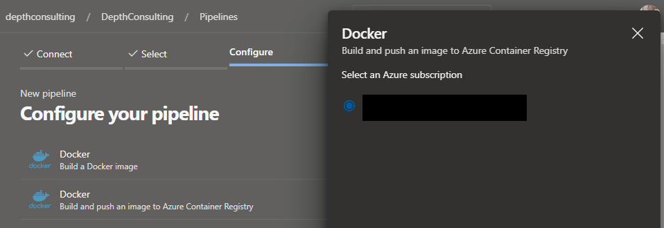 Select your Azure Subscription